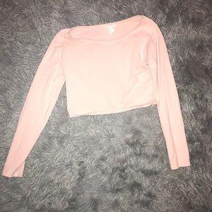 Light pink crop top.